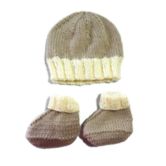 Newborn Knitted Beanie and Boots Set in Neutral Tones. 100% Australian Wool.