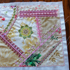 Crazy quilt block, pink gold and green machine embroidery, quilting supply, art