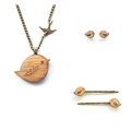 Three piece bird jewellery gift set