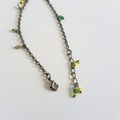 Simple seed bead fringe bracelet ( Yellow Green Clear , Minimal Gothic Cool )