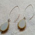 FREE POST Grey Czech glass beaded stainless steel long earrings