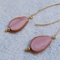 FREE POST Shell pink Czech glass stainless steel gold tone long earrings