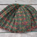 knitted ribbed beanie made from pure wool in green and red mix. ON SALE!!!