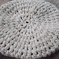 """cap crocheted from cotton """"tape"""" yarn cream coloured child size"""