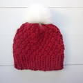 Red Chunky Knit Toddler Hat with White Faux Fur Pom Pom Size 2-4 years.