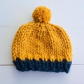 Chunky Knit Baby Hat in Mustard and Blue. Size 0-2 months