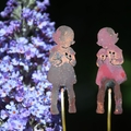 Copper Girl with Flowers Garden Decoration