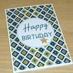 Birthday card - geo print - green and gold
