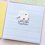 Baby Shower card elephant blue pastel stripes baby girl baby girl gender neutral