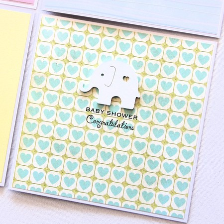 Baby Shower card elephant hearts yellow mint baby girl baby girl gender neutral