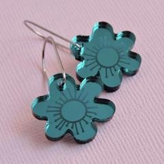 Mirror Teal Bloom Earrings