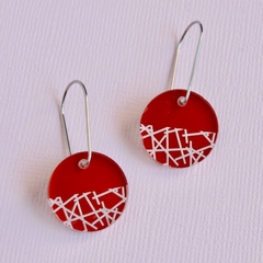 Red Disc Earrings