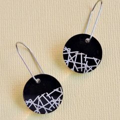 Black Disc Earrings