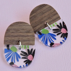 Wood and Flower Earrings