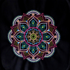 Embroidered Mandala quilt block lilac, pink, purple, green, gold, blue  machine