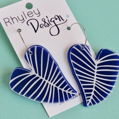Statement blue Leaf Earrings