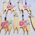 Wooden Llama Alpaca Christmas Ornament Decoration