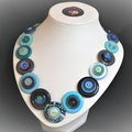 Black and blue button necklace -  Aqua Queen