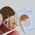 Wood and Rainbow Rain Earrings