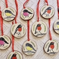 Christmas ornament / Australian Robin / Hand printed and hand painted