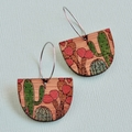 Bamboo Wood Earrings with Cactus Detail