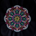 Embroidered Mandala quilt block lilac, pink, purple, green, gold, blue  machine