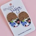 Wood and Flower Earrings