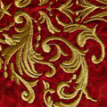 Embroidered gold Christmas Tree on red cotton fabric, Christmas craft supply