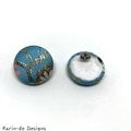Light Blue Kimono Button Earrings