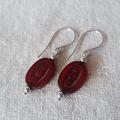 FREE POST Ox blood red Czech glass beaded earrings