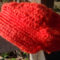 Child's crocheted cap in red wool - 0 to 3 months ON SALE!!