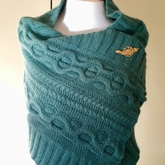 Cable Knit Shawl or Wrap made in Savannah Bendigo Woollen Mills yarn