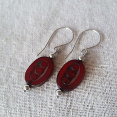 FREE POST Ox blood red Czech glass beaded earrings