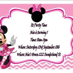 Disney Minnie Mouse Print at home invitation