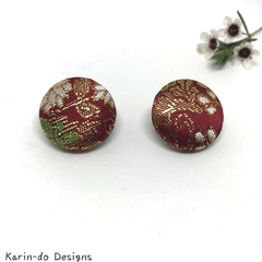 Red & Gold Kimono Button Earrings