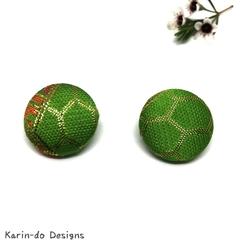 Green Kimono Button Earrings