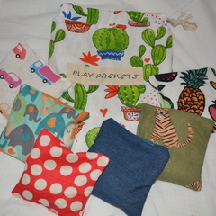 Set of 6 sewn bean bags in a drawstring Play Pocket.