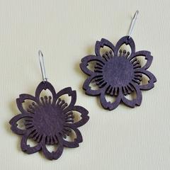 Large Dark Wooden Flower Earrings