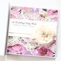 Personalised Wedding card keepsake boxed lace purple bride groom