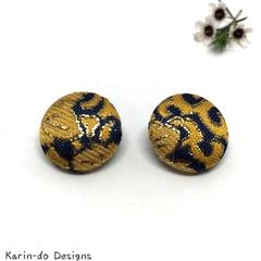 Blue & Yellow Kimono Button Earrings