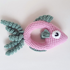 Fish rattle crochet soft toy in pink and sage colours