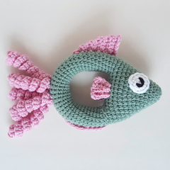 Fish rattle crochet soft toy in sage and pink colours