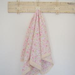 Cotton vintage lace baby blanket - pink floral