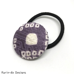 Covered button elastic hair ties Purple Shibori