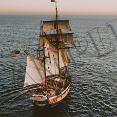 025 Top view sailing ship poster A3 Size