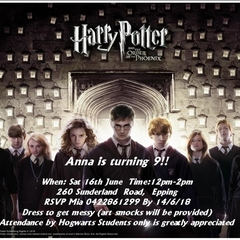 Harry Potter Cast print at home Invitation