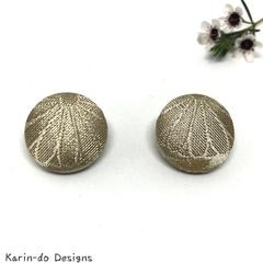 Beige Kimono Button Earrings