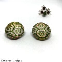 Green & White Kimono Button Earrings