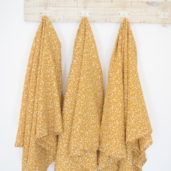 XL Muslin Baby Wrap Swaddle - Mustard Floral