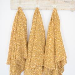 XL Muslin Baby Wrap - Mustard Floral